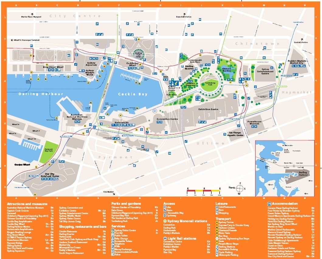 Darling Harbour And Darling Quarter Map Weekendnotes Image Darling Harbour Map Image
