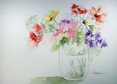 Bonitas flores a la acuarela. Blog