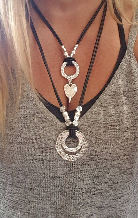 double Statement leather necklace, Statement endless Ring pendant, Boho, Gypsy, woman leather necklace