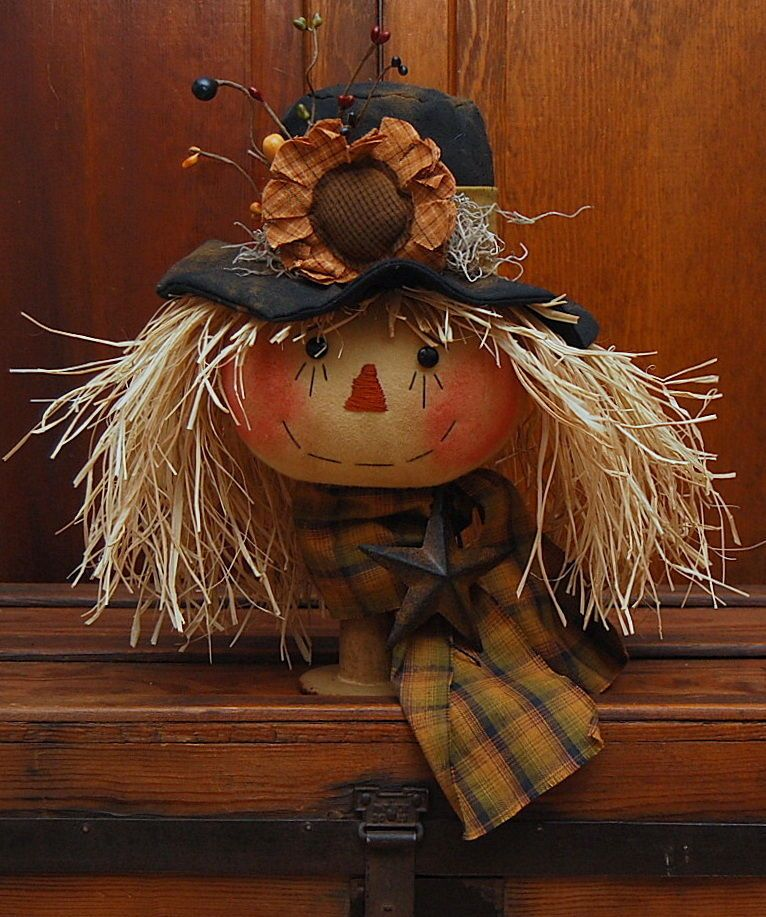 Handmade Primitive Wood Bobbin Scarecrow Doll Sunflower Fall