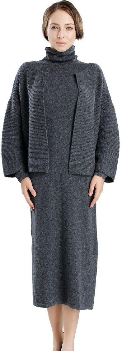 Turtleneck Dress and Cashmere Cardigan Set