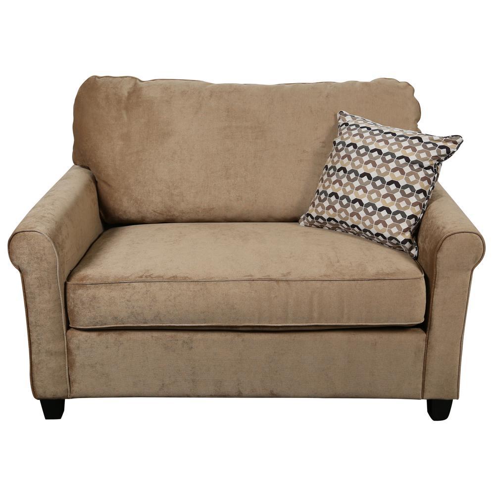 - Porter Designs Serena Khaki Plush Microfiber Twin Sleeper Sofa 01