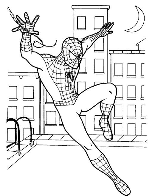 Spiderman Nearly Fall Coloring Page Spiderman Coloring Superhero Coloring Pages Superhero Coloring