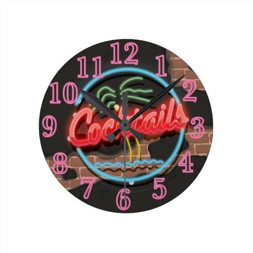 Cocktails Nightclub Neon Round Wall Clock