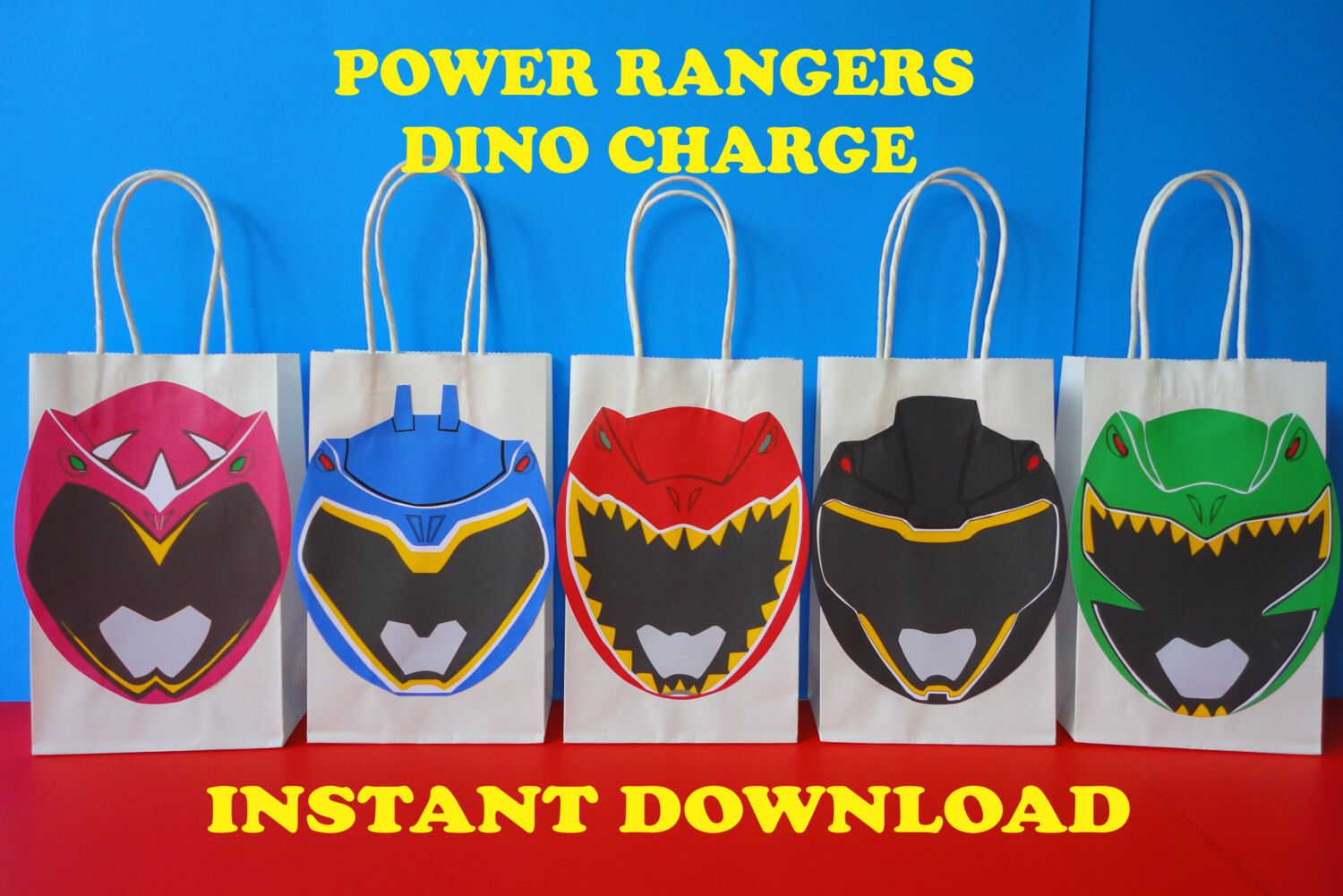 PRINTABLE Gt Power Rangers Dino Charge Party Favor Bags