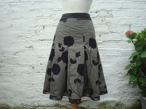 Dark Mori Girl Skirt, Upcycled Skirt, Woman's Clothing, Grey Black Skirt, Gray Skirt, Black  Flowers, Floral Woodland, Forest, Small size