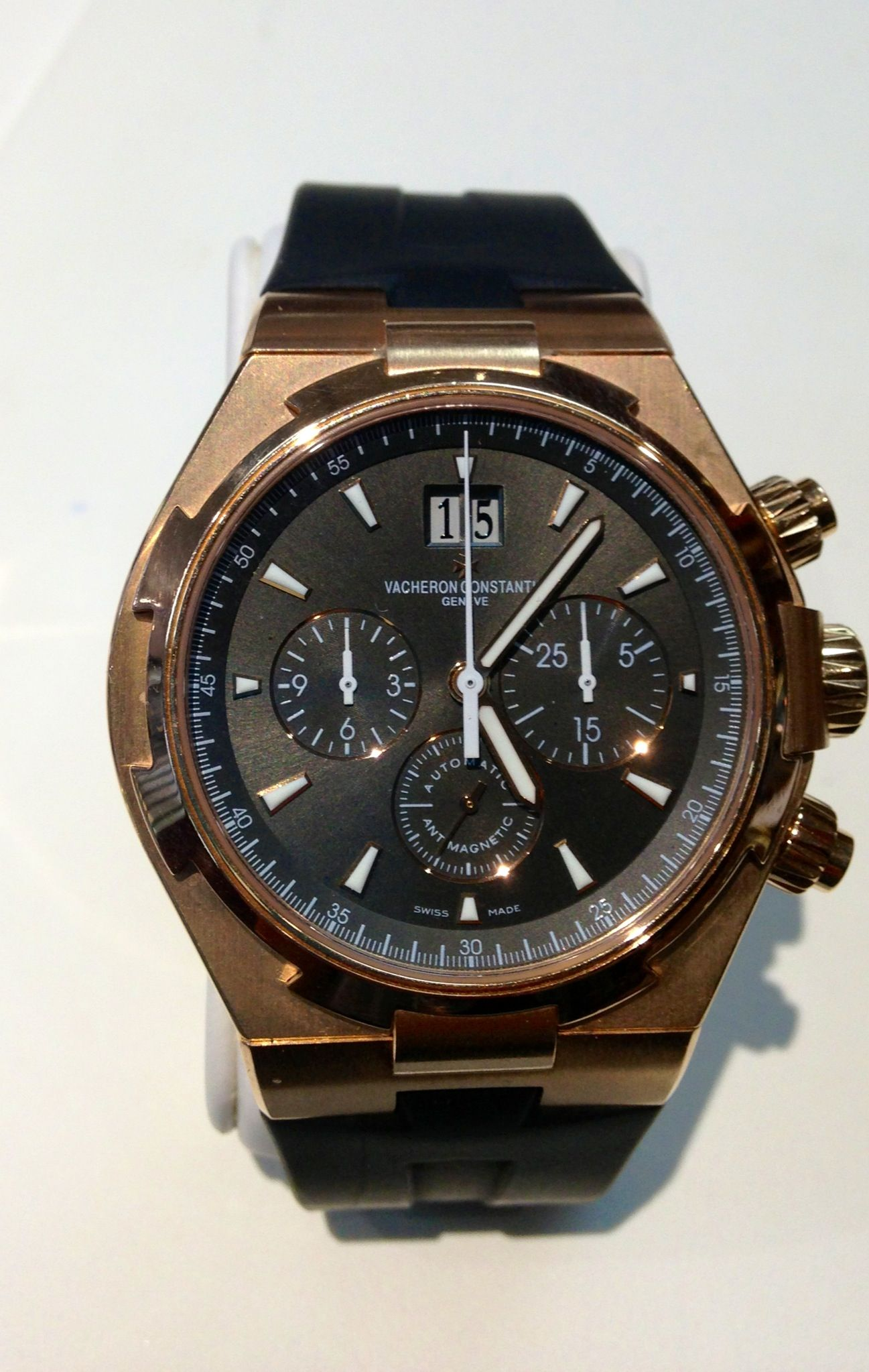 PART OF OUR COLLECTION- Vacheron Constantin Pink Gold on Rubber Overseas- amazing!