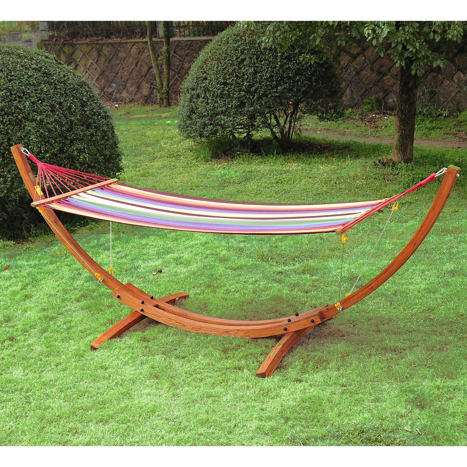 Outsunny Swing Hammock With Hardwood Stand Frame Garden Bed Ca Patio Lawn