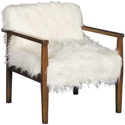 Show Details For Mongolian Faux Fur Wooden Arm Chair