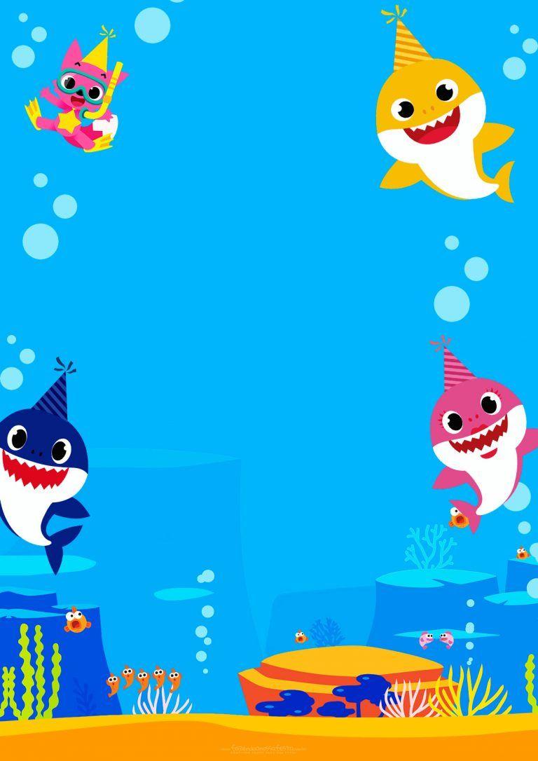 Convite Baby Shark Para Editar 2 Convite Aniversario Infantil