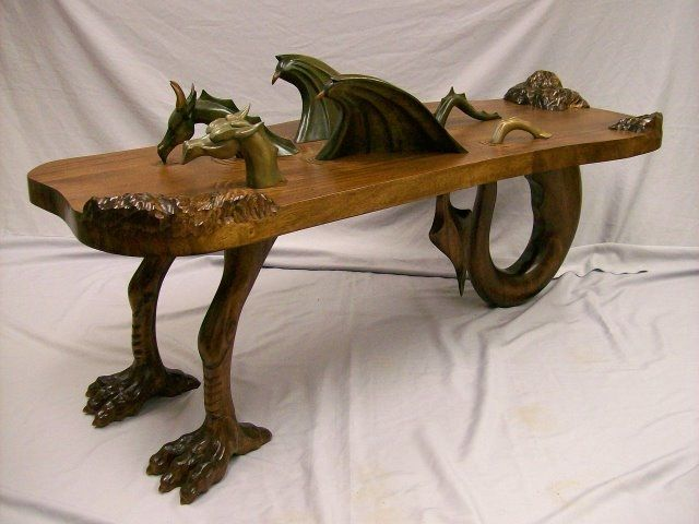 Custom Designed And Hand Carved Dragon Coffee Table Carved