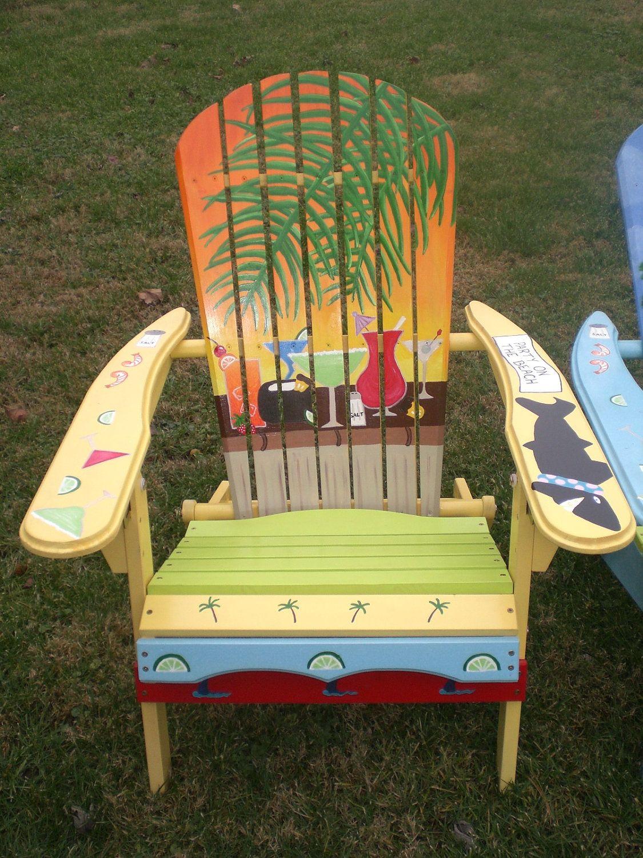 Paintedchairs hand painted adirondack yellow chair yellow orange