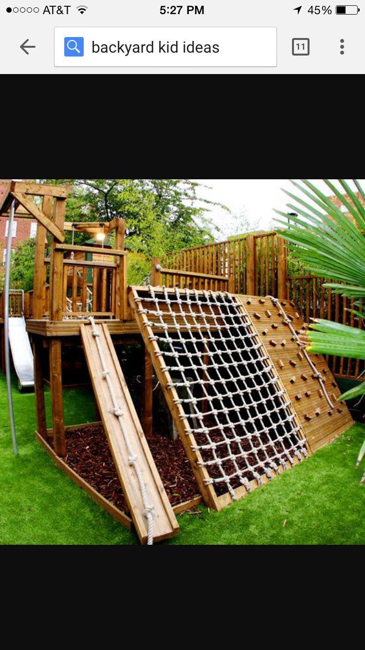 Rope climb Backyard, Backyard play, Backyard for kids
