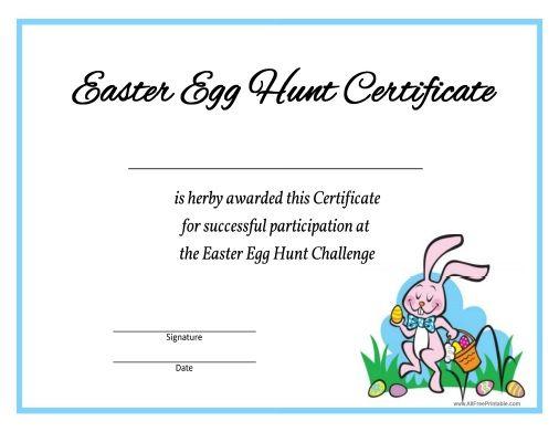 Easter egg hunt certificate all free printable pinterest easter egg hunt certificate negle Images