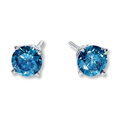 afffd9f2b Blue Diamond Earrings 1 carat tw Round-Cut 10K White Gold | Shiny ...