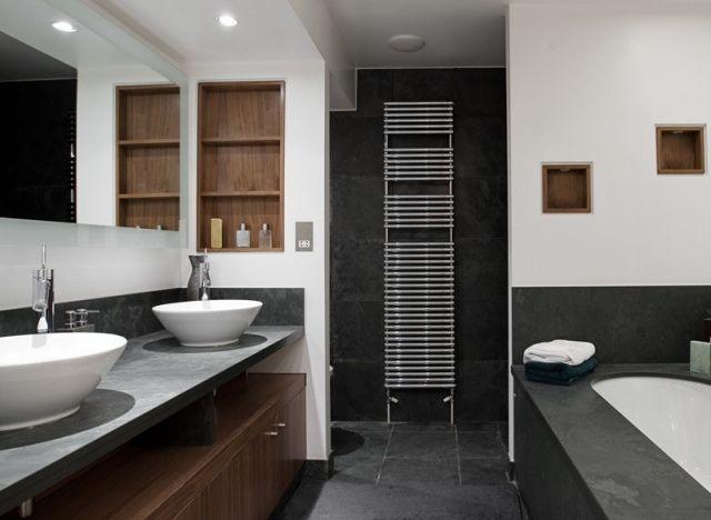 Badezimmer Hochschrank ~ Badezimmer bilder arbeitsplatte beton optik holz schrank regale