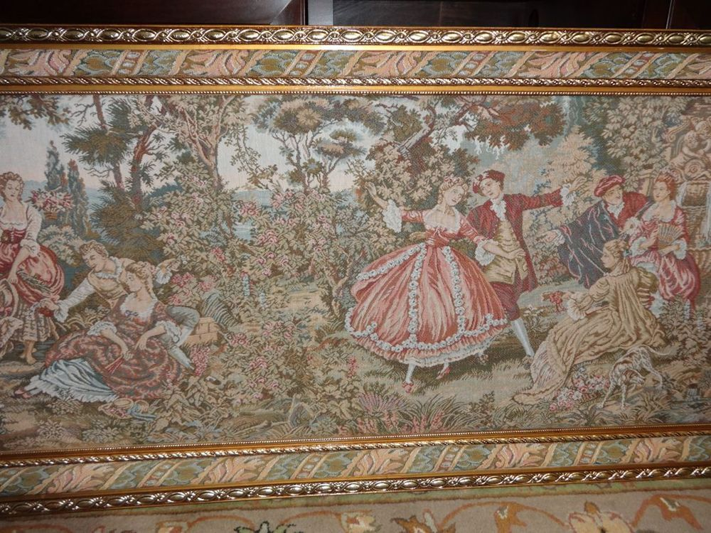 Antique Gold Framed French Victorian Scene Wall Tapestry