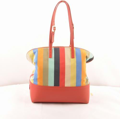9e385181f8 low-cost Fendi Earth Yellow Leather with Multicolor Striped Fabric Shopping Handbag  sale online