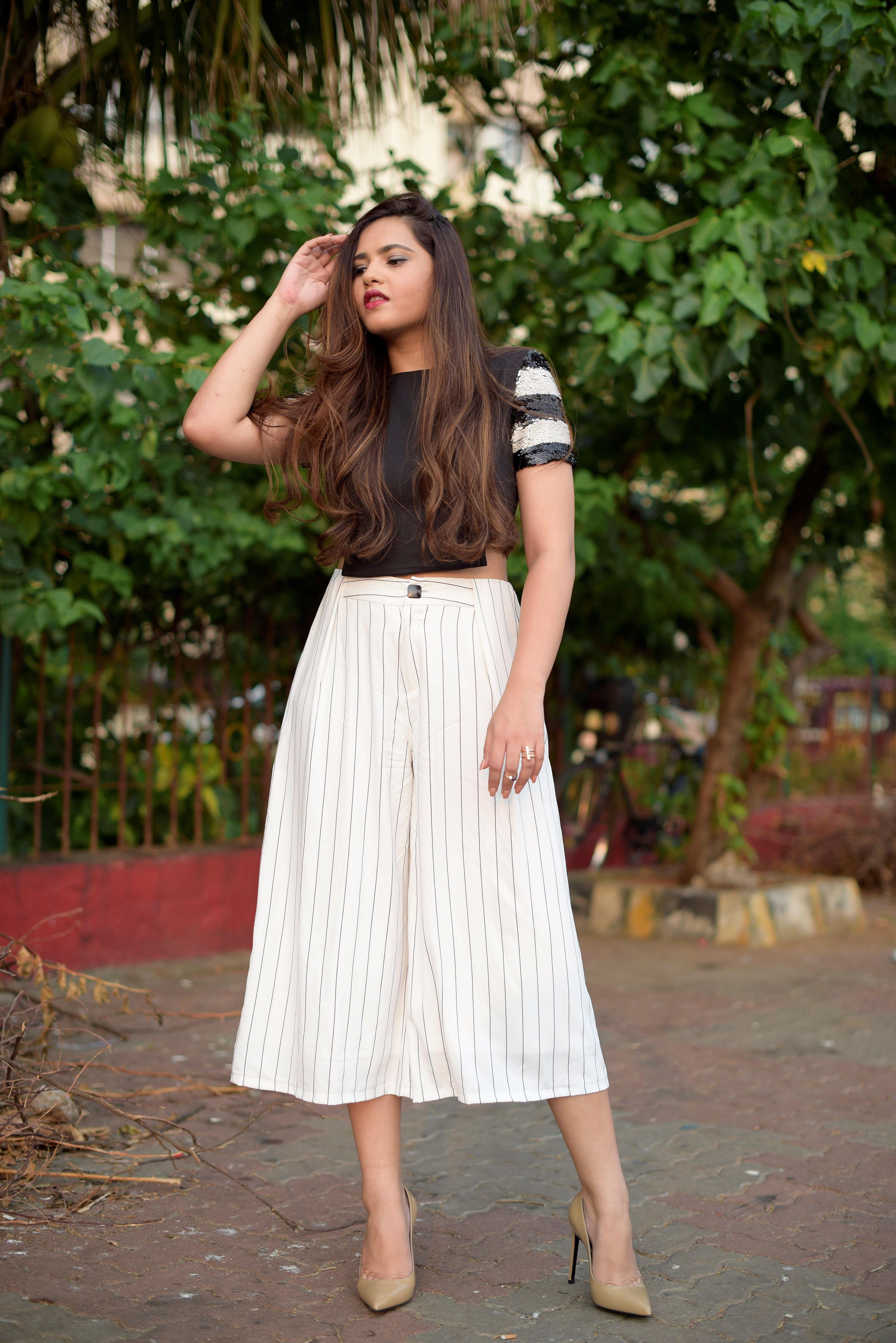 Pinstriped Culottes with Sequinned  Crop Top