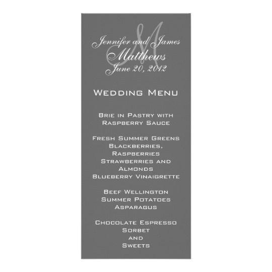 Grey White Elegant Monogram Wedding Menu Cards Wedding menu cards - fresh invitation template simple