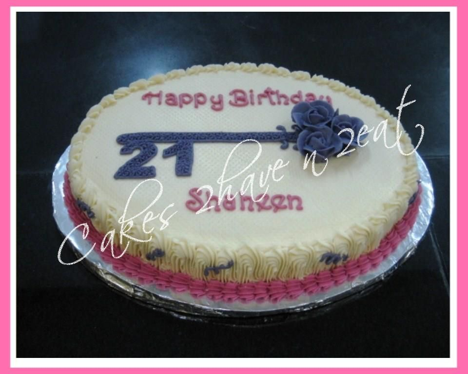 21st Birthday Cake Oval Shaped Cake With A Beautiful