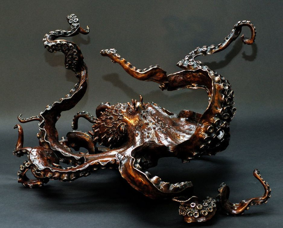 kirk mcguire's 'cephalopod' bronze giant pacific octopus sculpture