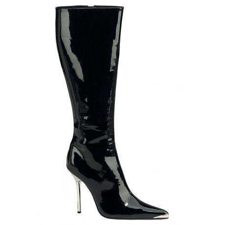 Bottes fétichistes noires vernies, découvrez ces chaussures sexy  Dominatrice, un talon aiguille métallique très