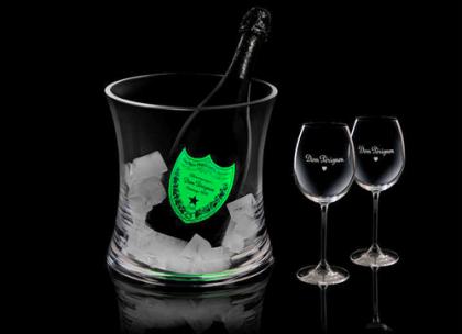 Luminous Dom Perignon Champagne bottle