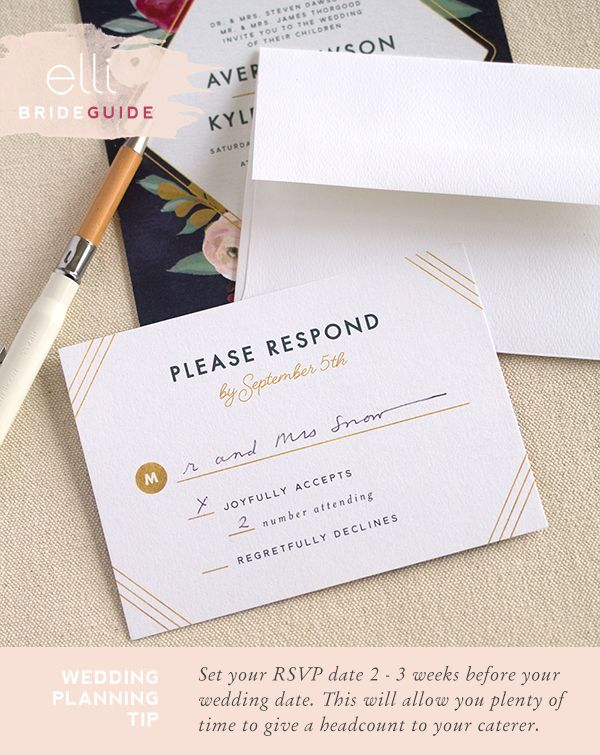 Wedding Etiquette Tip Set Your Rsvp Date 2 3 Weeks Before Your Wedding Date Unique Wedding Invitations Wedding Invitation Cards Wedding Invitations