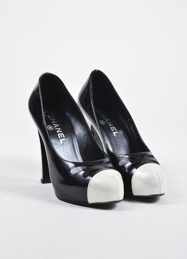 05271c86fb1 Black and White Chanel Patent Leather Glitter Cap Toe Cutout Pumps ...