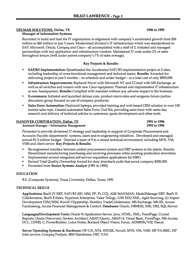 Example Of Tech Executive Resume Examples Resume Cv