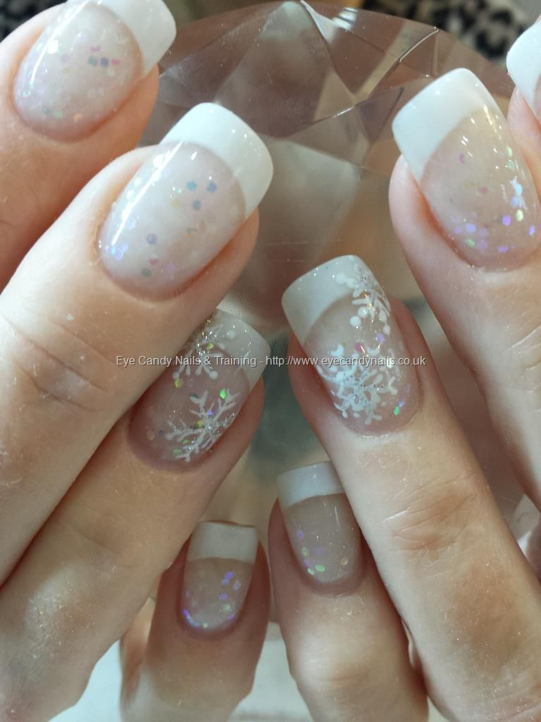 Christmas nail art on french manicure