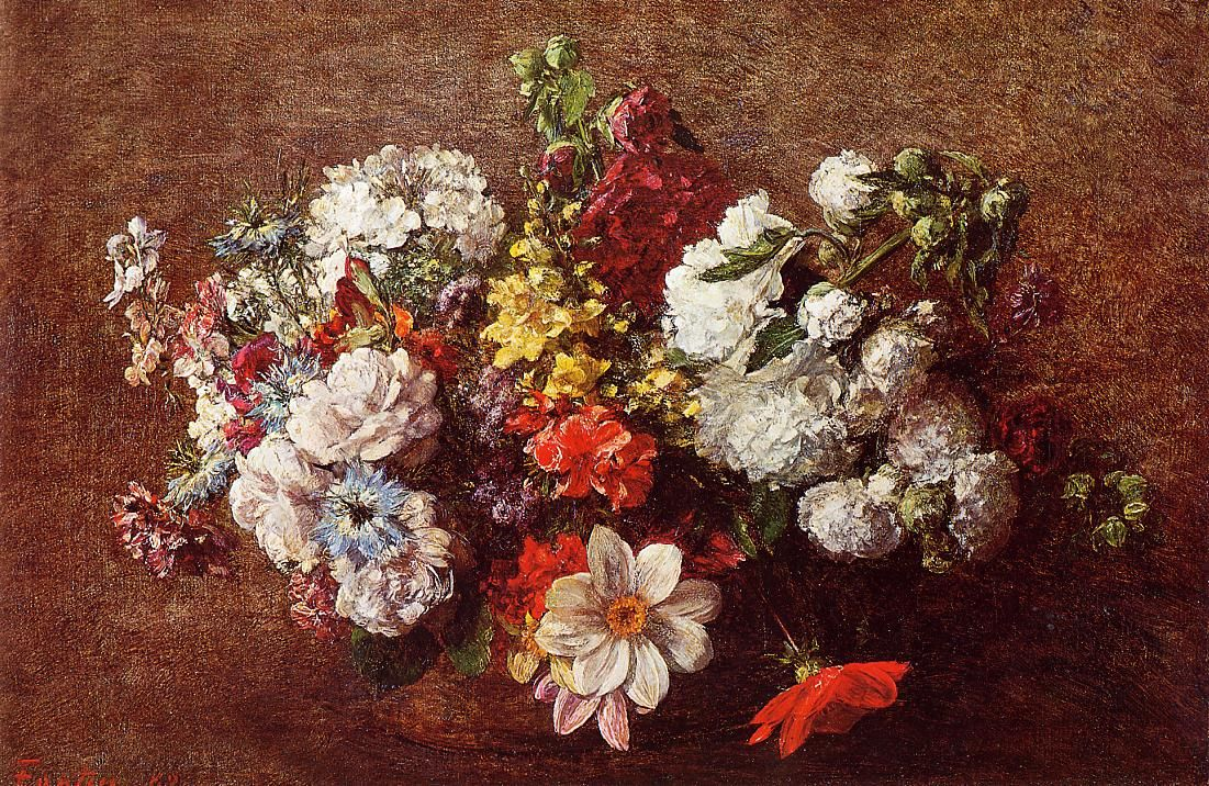 Bouquet of flowers henri fantin latour artificios naturales reproduction with oil painting effect of painting made by fantinlatour henri bouquet of flowers 1882 izmirmasajfo