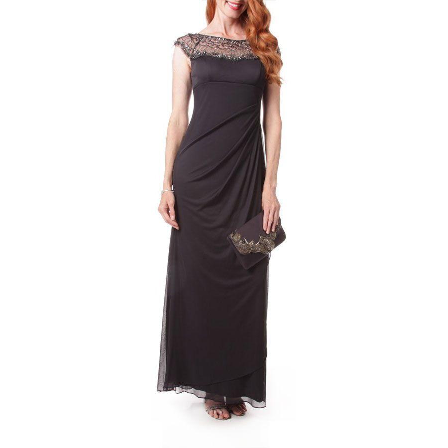 Xscape embellished mesh yoke ruched dress formal pinterest
