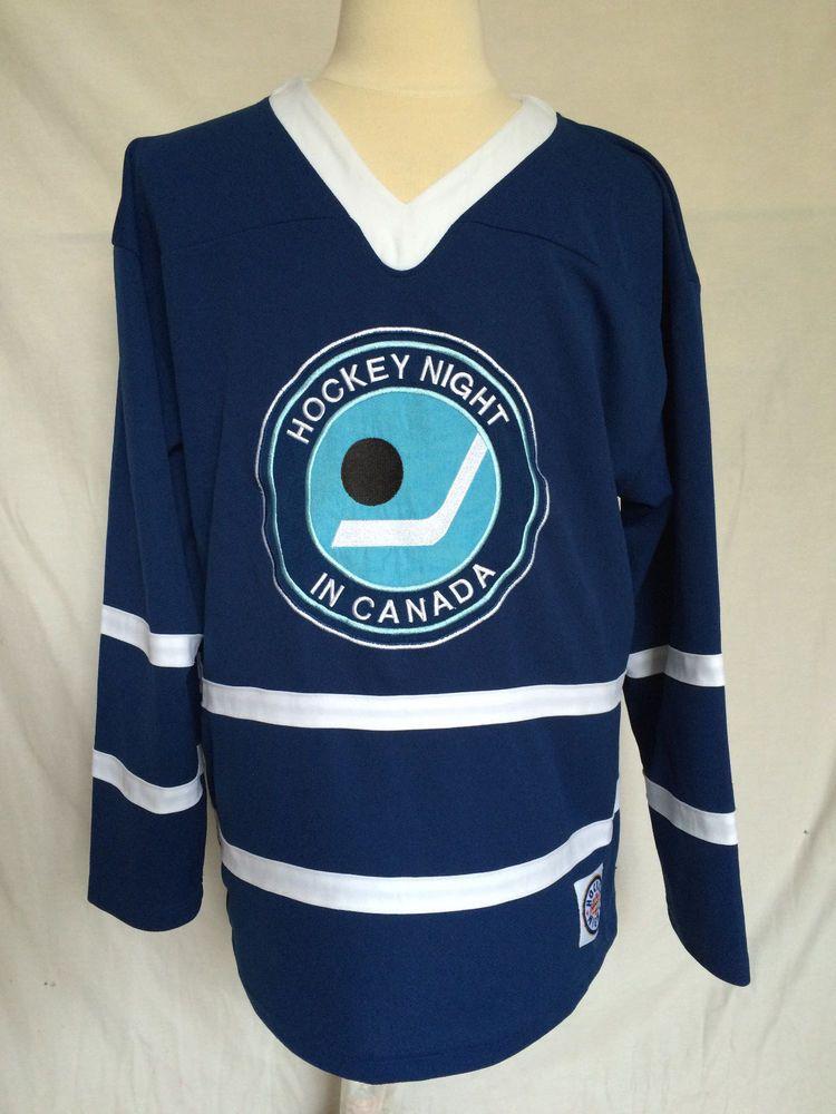 Cbc Hockey Night In Canada Jersey Large Blue Retro Style Nhl Mens Cbc Doesntapply Nhl Hockey Jerseys Retro Fashion Nhl