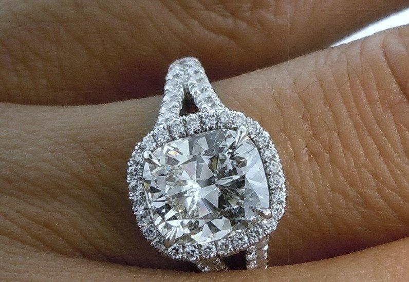 2.90ct Cushion cut Moissanite & Diamonds Engagement by blueriver47 ...