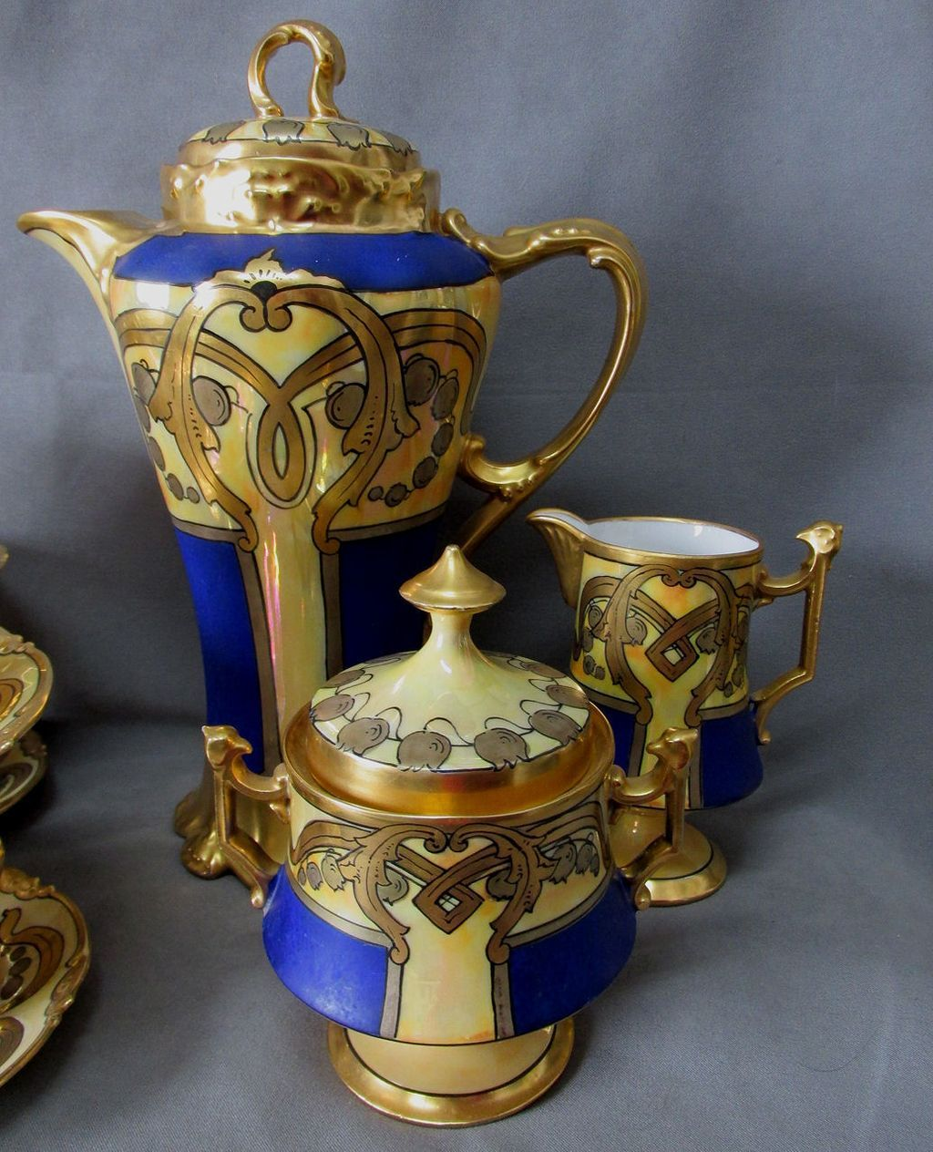 Hand Painted French Limoges Tea Set In Gilt Gold U0026 Cobalt Blue