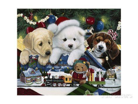 Curious Christmas Pups Giclee-vedos tekijänä Jenny Newland AllPosters.fi-sivustossa
