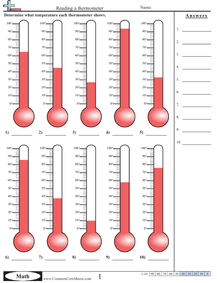 Reading A Thermometer Worksheet Mathematics Pinterest