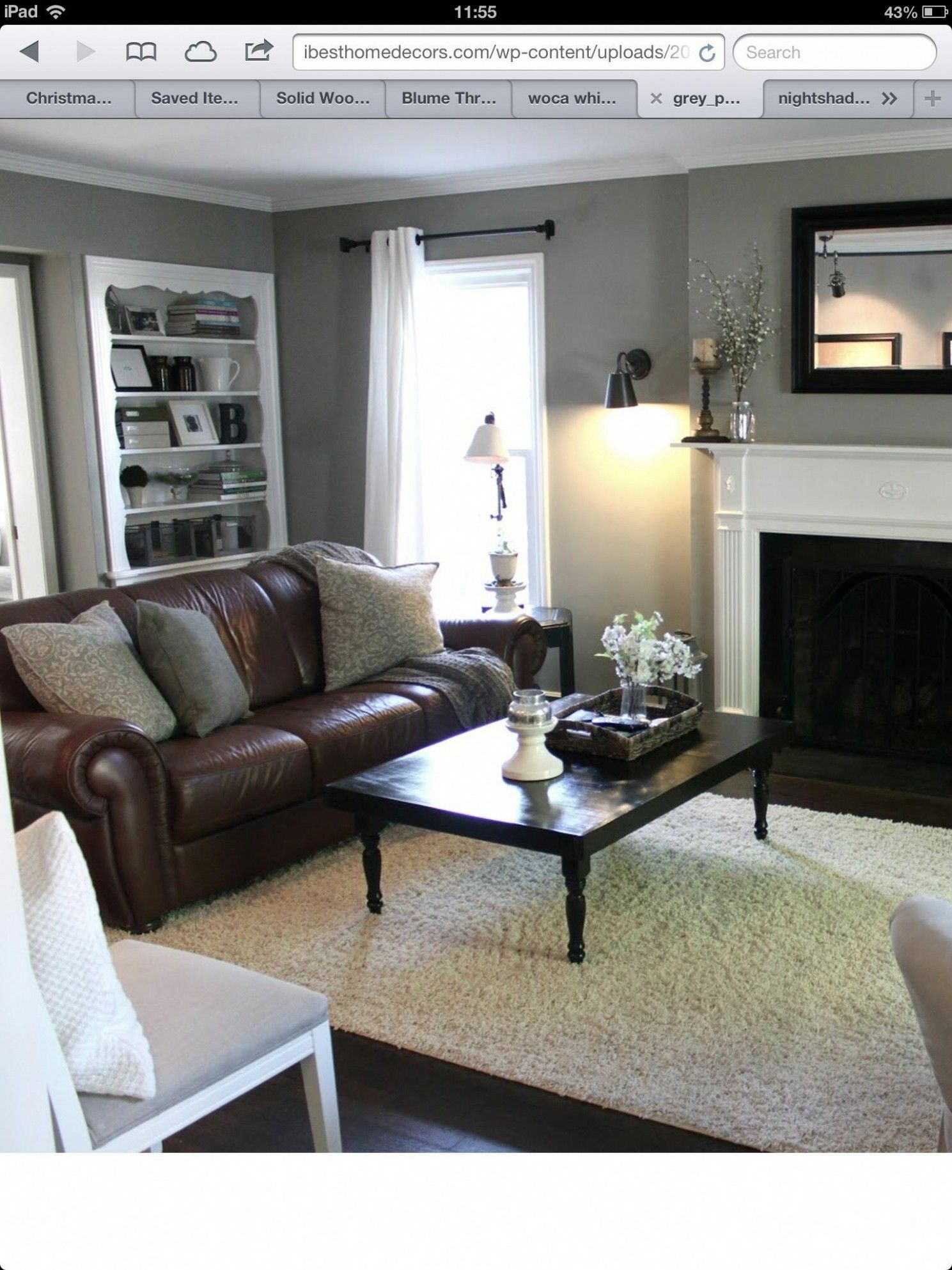 living room grey walls brown furniture in 2020  brown