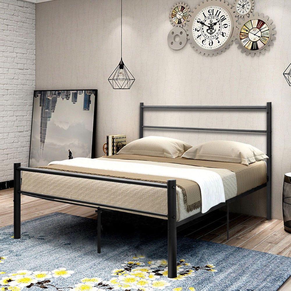 Metal Bed Frame Full Size Black Platform Artistic