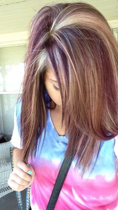 Reddish Purple And Blonde Highlights Summer Hair Color