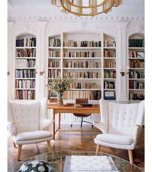 Desk In Front Of Bookshelves Home Libraries Home Home Decor