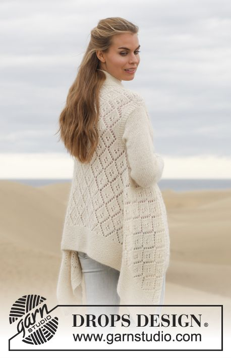"""Knitted DROPS jacket with lace pattern in """"Alpaca"""" and """"Kid-Silk ..."""