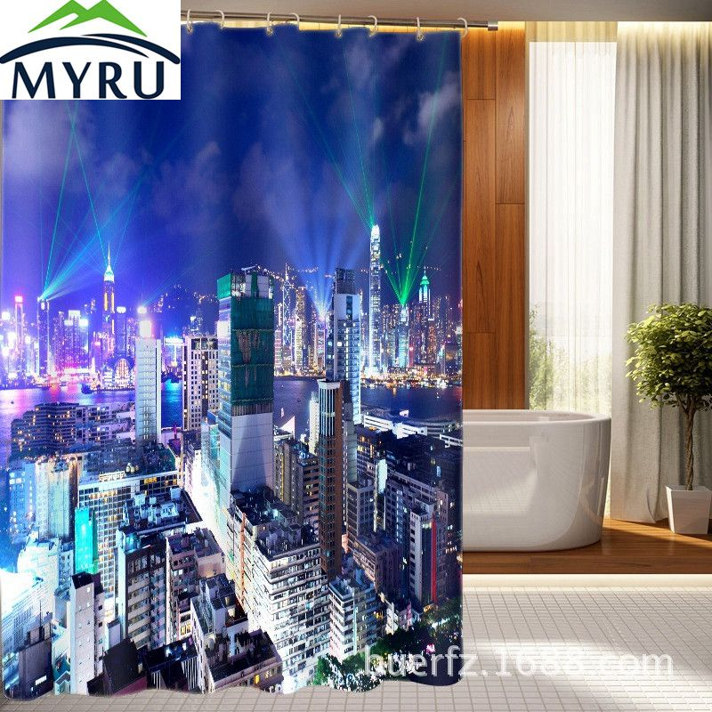 City Night View Pattern Waterproof Bathing Shower Curtain Polyester Bathroom