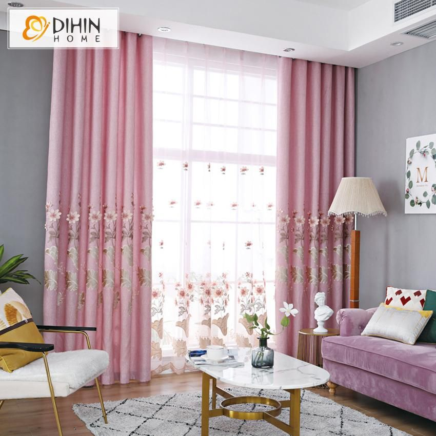 Dihin Home Embroidered Pink Curtains Blackout Grommet Window