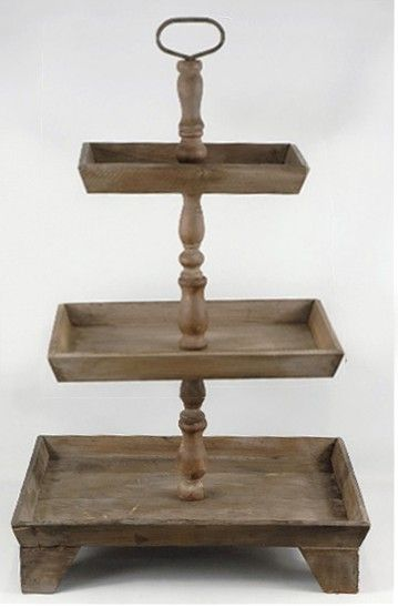 3 Tier Rustic Wood Stand Set Of 2 Save 45 Wood Buffet Wood Display Buffet Display