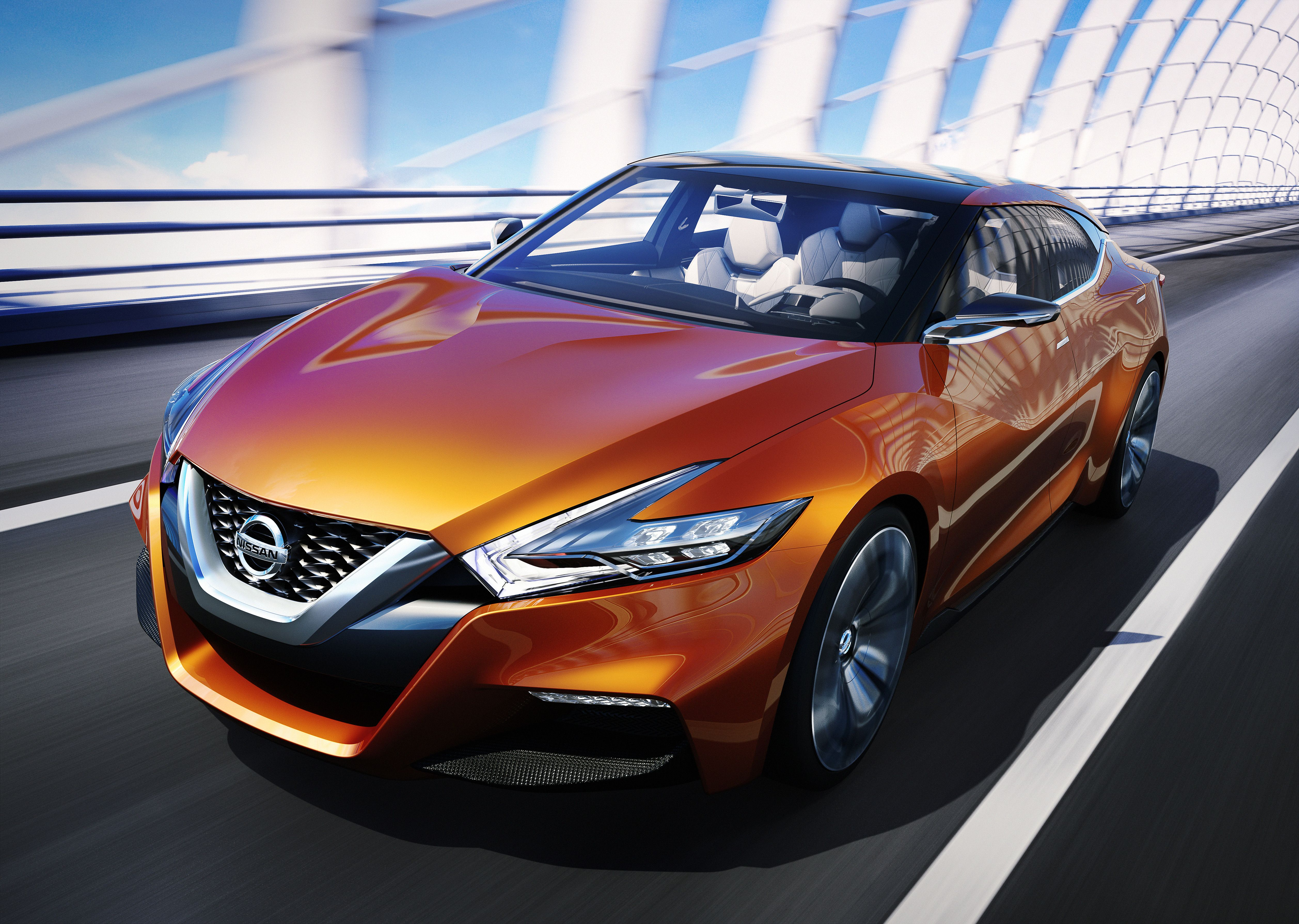 The Nissan Sport Sedan Concept Emphasizes Next Generation Design And Sporty Style A Floating Roof V Motion Front End Boomerang Shaped Headlights