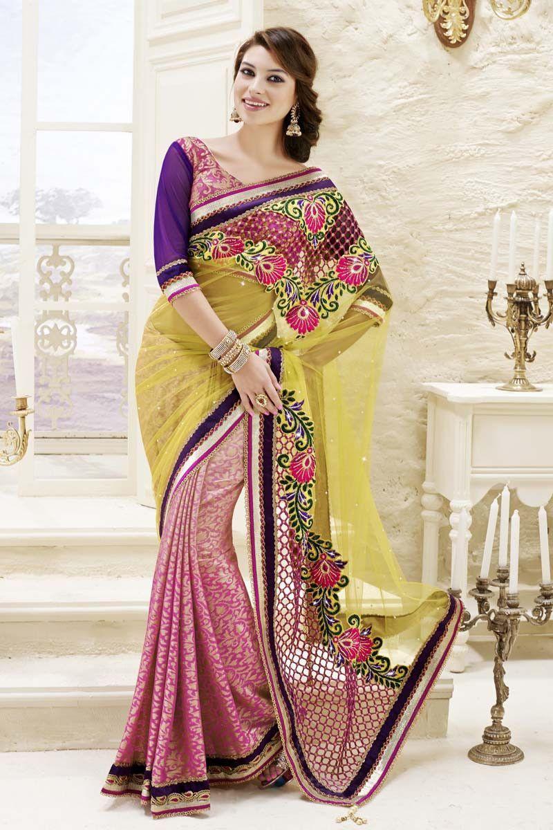 Yellow cotton saree for wedding yellow net wedding saree  dev  pinterest  wedding sarees saree