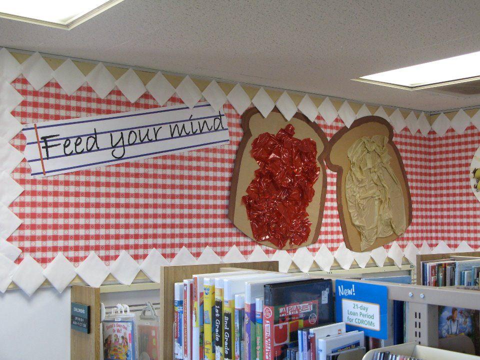 Classroom Kitchen Ideas ~ Food theme my library displays pinterest